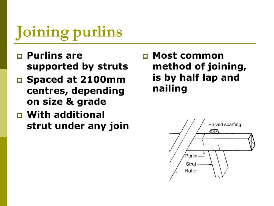 Joining purlins Purlins are supported by struts