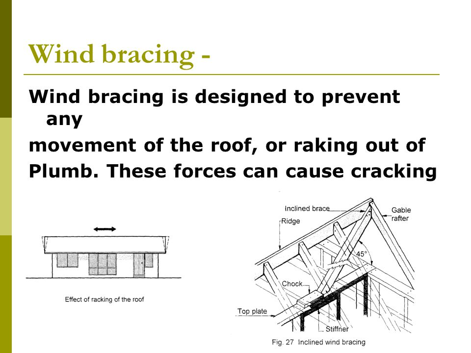 Wind bracing - Wind bracing is designed to prevent any