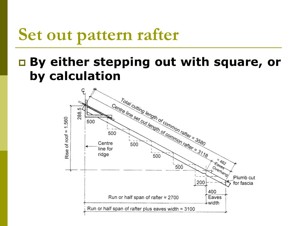 Set out pattern rafter By either stepping out with square, or by calculation