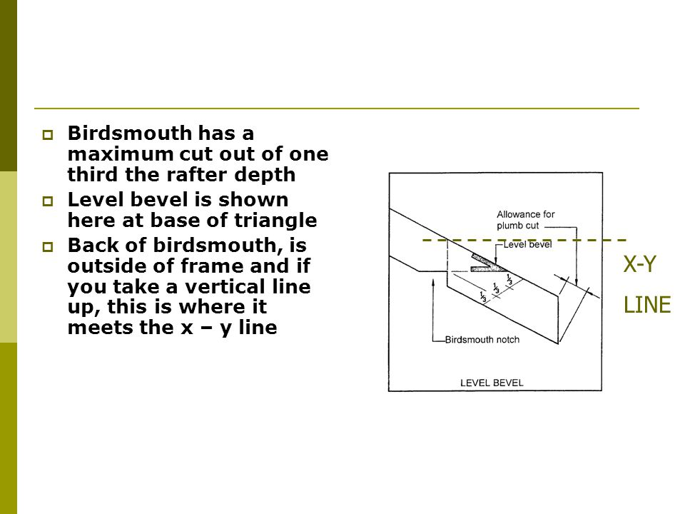 Birdsmouth has a maximum cut out of one third the rafter depth