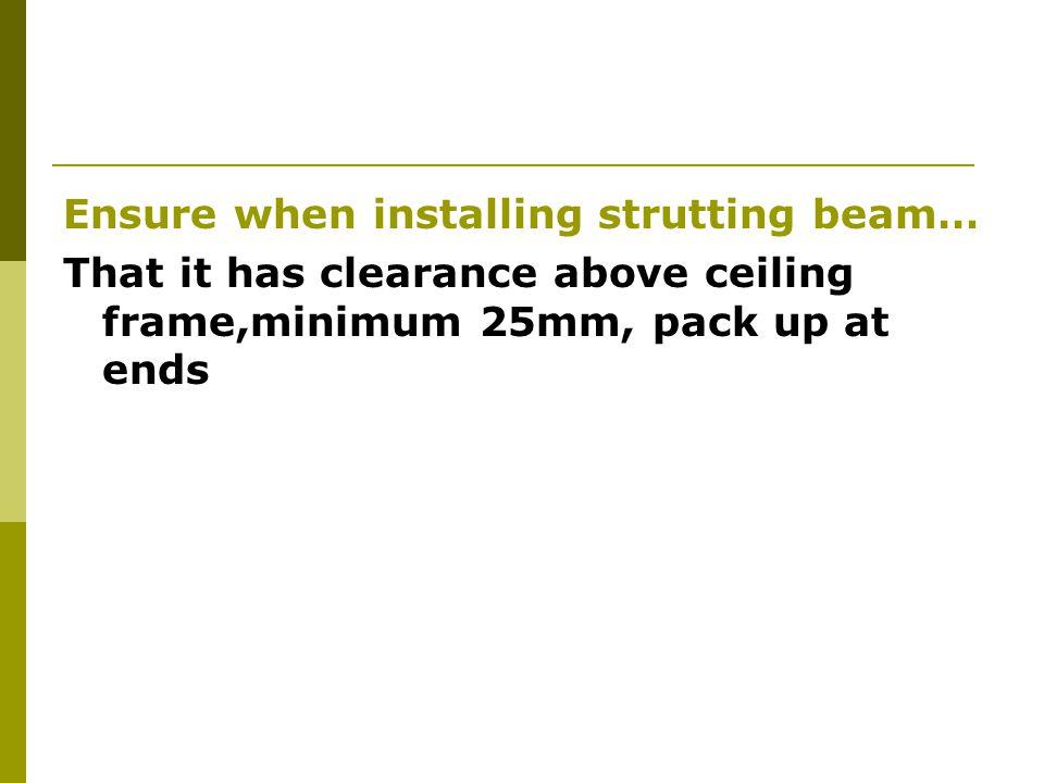 Ensure when installing strutting beam…