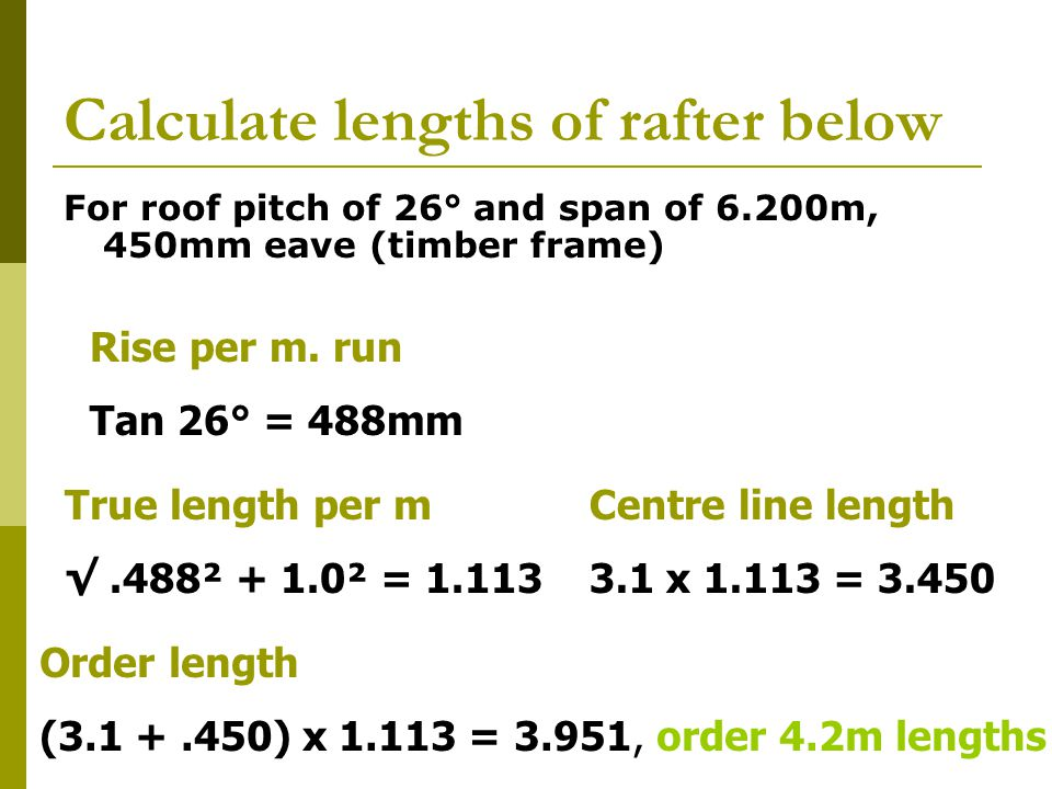 Calculate lengths of rafter below