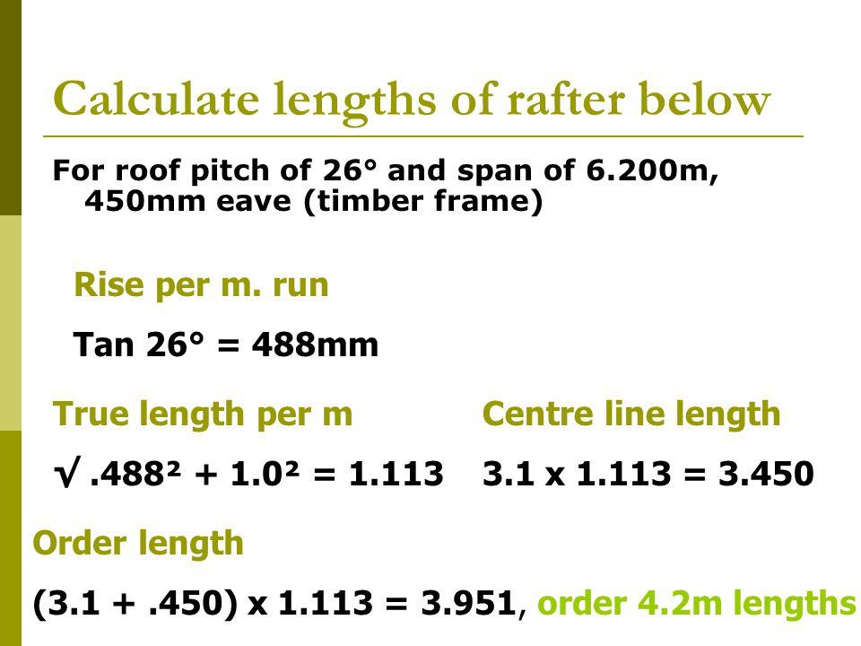 Calculate lengths of rafter below