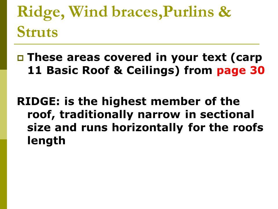 Ridge, Wind braces,Purlins & Struts