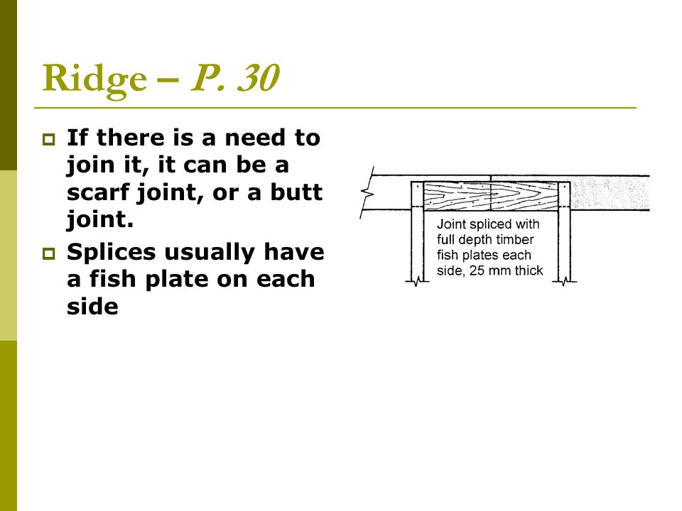 Ridge – P. 30 If there is a need to join it, it can be a scarf joint, or a butt joint.