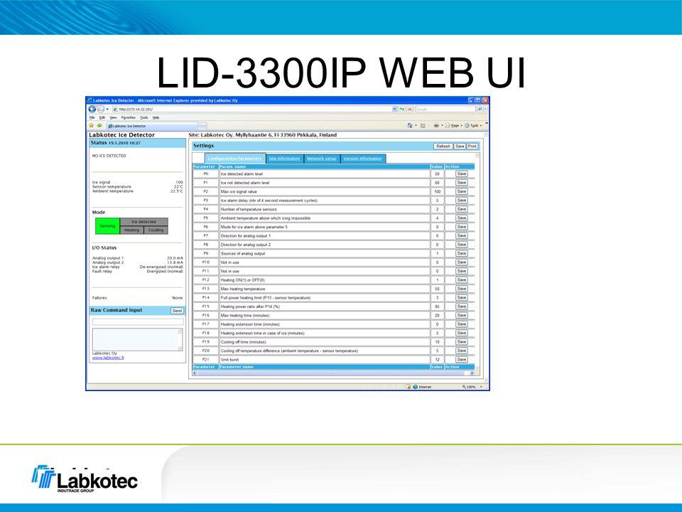 LID-3300IP WEB UI Laitteen tila Eri parametrit, myös voi muuttaa