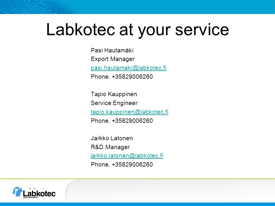Labkotec at your service