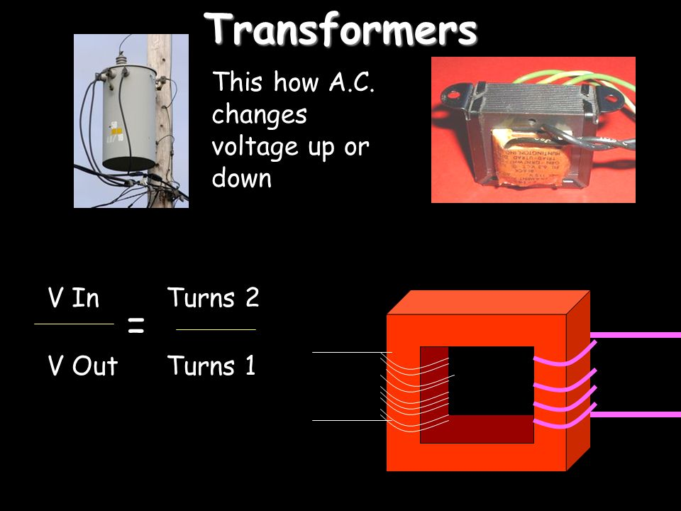 Transformers = This how A.C. changes voltage up or down V In V Out