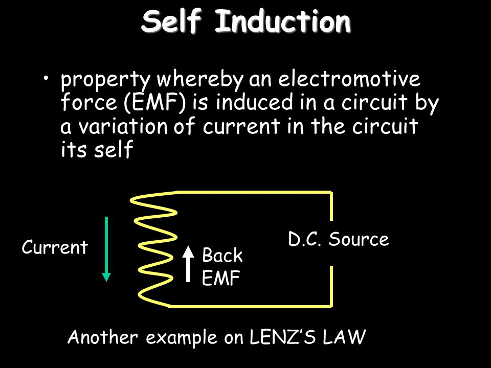 Self Induction property whereby an electromotive force (EMF) is induced in a circuit by a variation of current in the circuit its self.