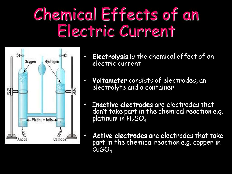 Chemical Effects of an Electric Current