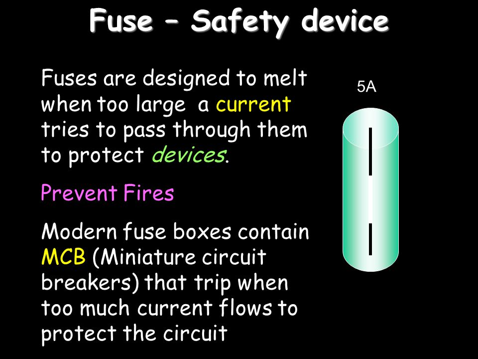 Fuse – Safety device Fuses are designed to melt when too large a current tries to pass through them to protect devices.