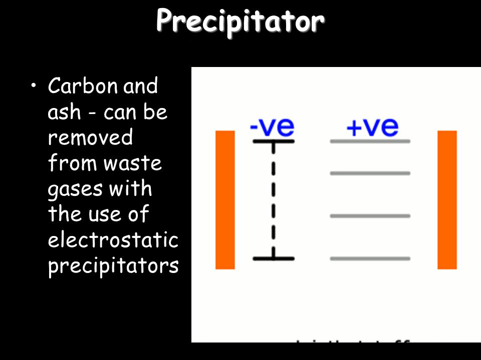 Precipitator Carbon and ash - can be removed from waste gases with the use of electrostatic precipitators.