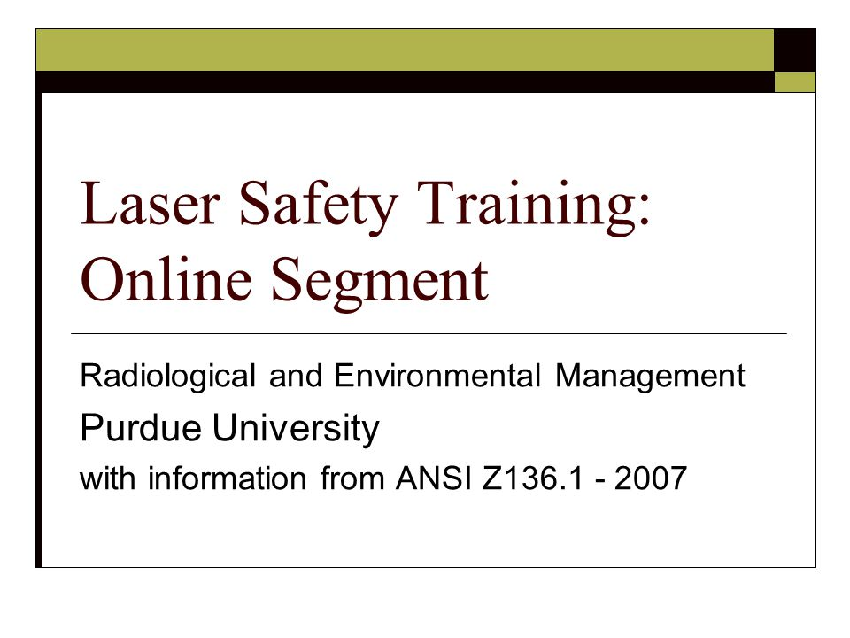 Laser Safety Training: Online Segment
