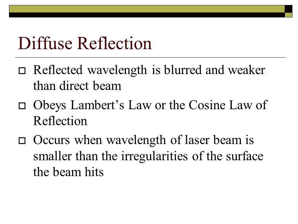 Diffuse Reflection Reflected wavelength is blurred and weaker than direct beam. Obeys Lambert's Law or the Cosine Law of Reflection.