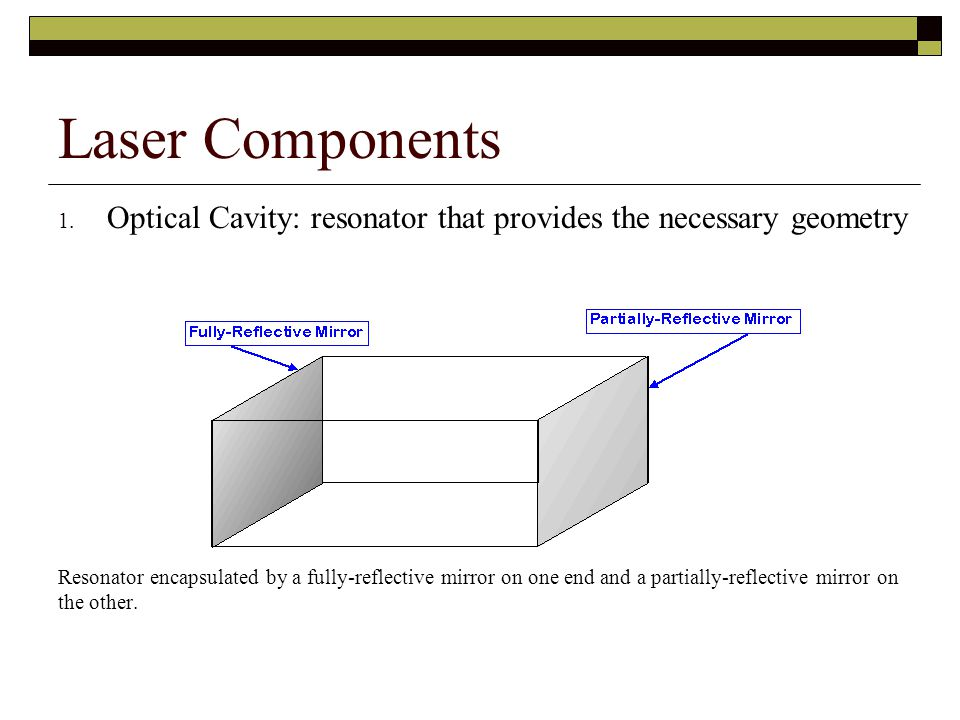 Laser Components Optical Cavity: resonator that provides the necessary geometry.