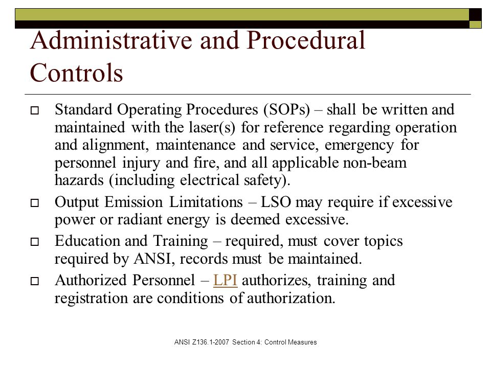 Administrative and Procedural Controls