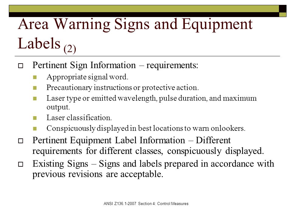 Area Warning Signs and Equipment Labels (2)