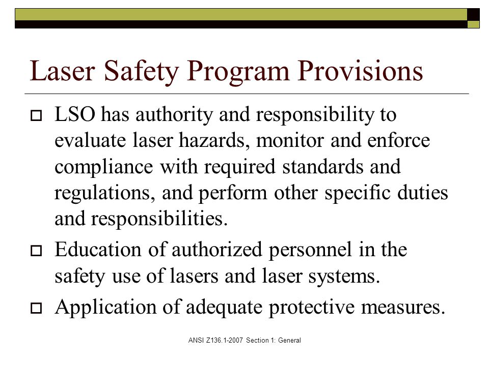 Laser Safety Program Provisions