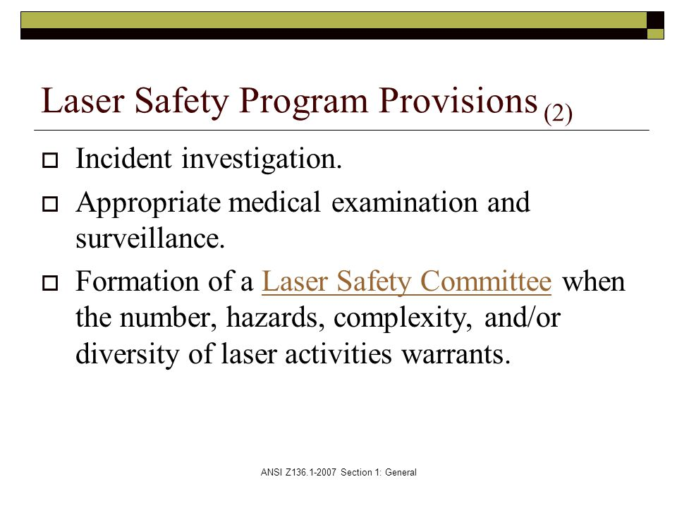 Laser Safety Program Provisions (2)