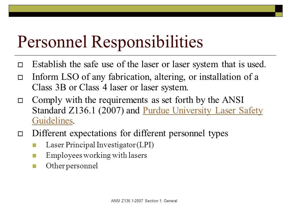 Personnel Responsibilities
