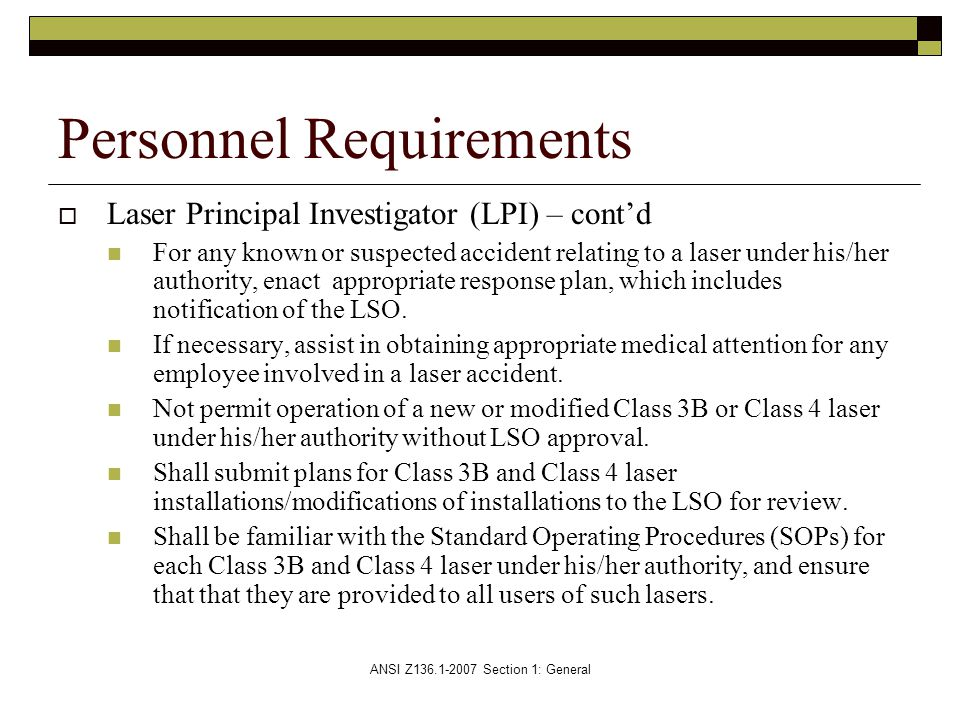 Personnel Requirements
