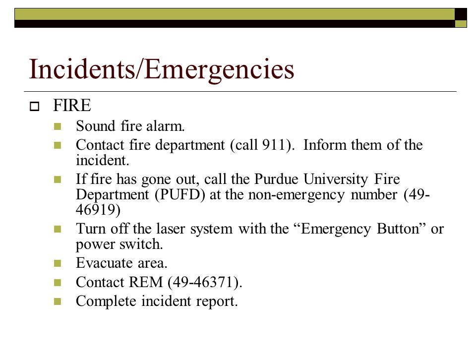 Incidents/Emergencies