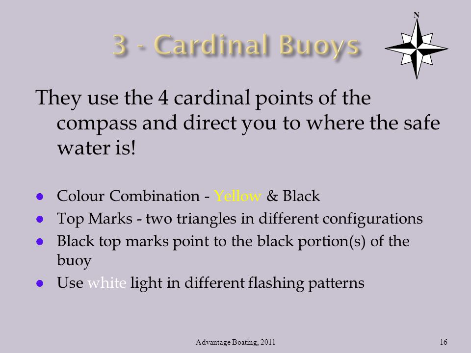 3 - Cardinal Buoys They use the 4 cardinal points of the compass and direct you to where the safe water is!
