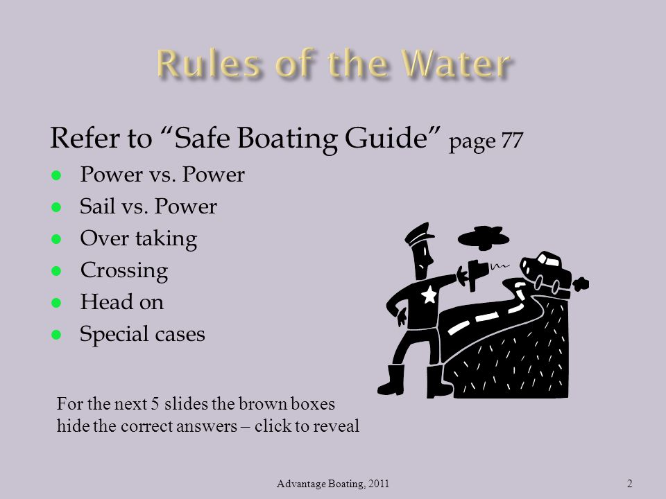 Rules of the Water Refer to Safe Boating Guide page 77