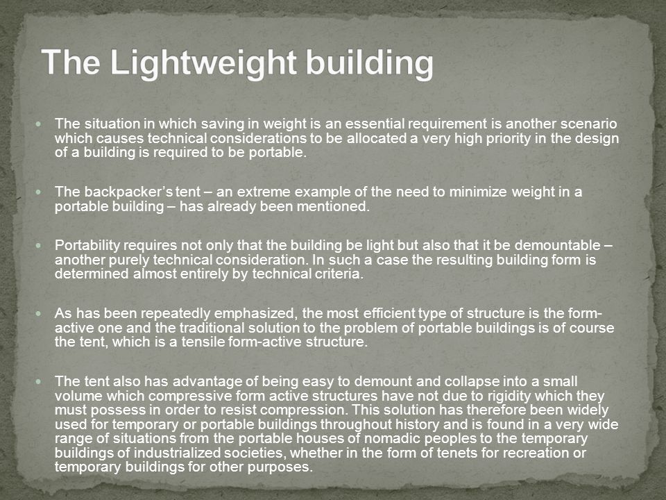 The Lightweight building