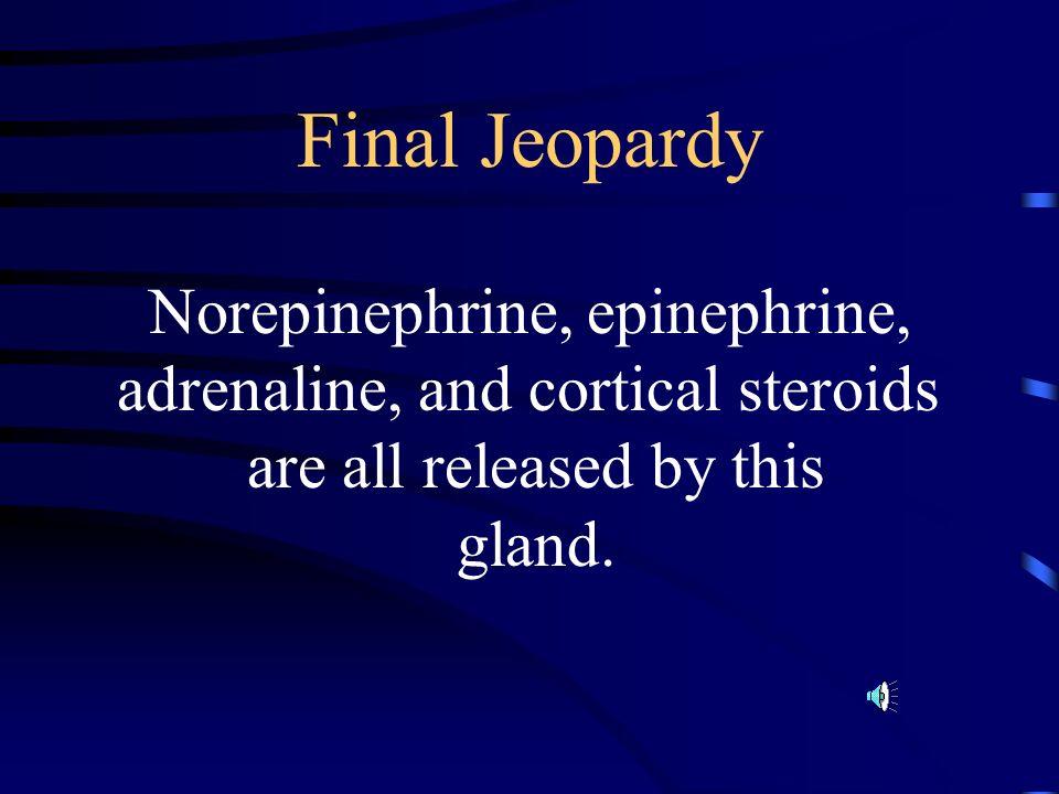 Final Jeopardy Norepinephrine, epinephrine,