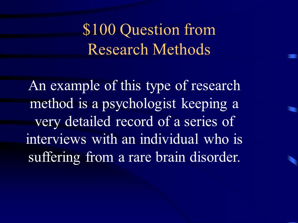$100 Question from Research Methods