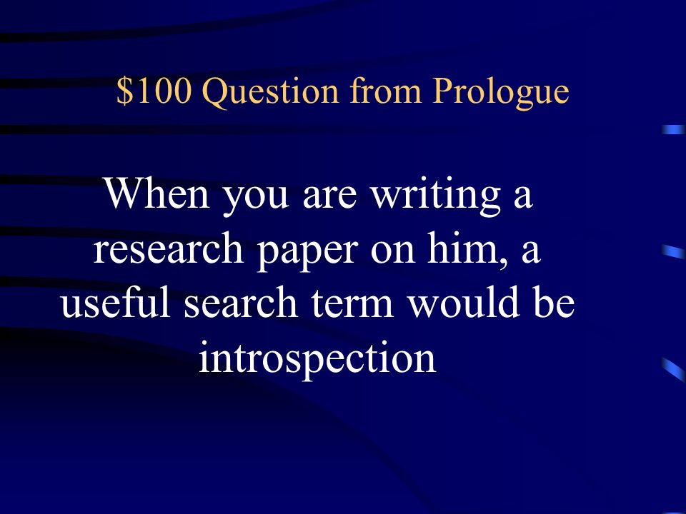 $100 Question from Prologue