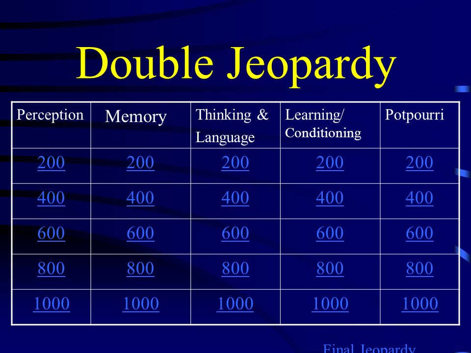 Double Jeopardy Memory 200 400 600 800 1000 Perception Thinking &