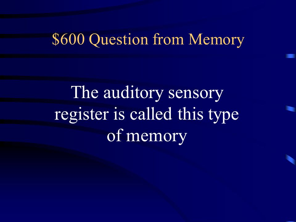 The auditory sensory register is called this type of memory