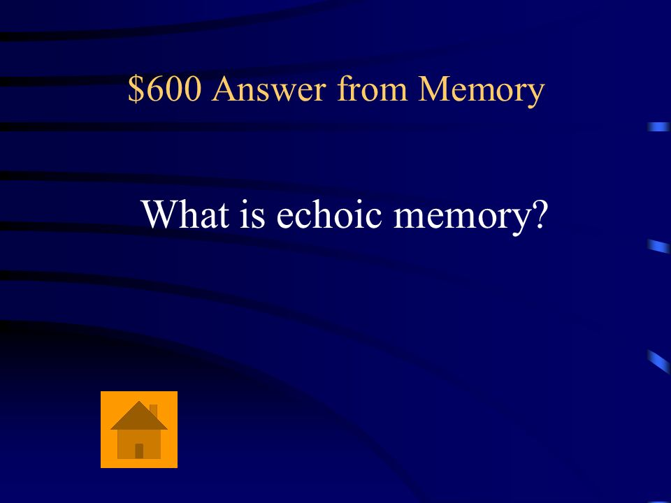 $600 Answer from Memory What is echoic memory