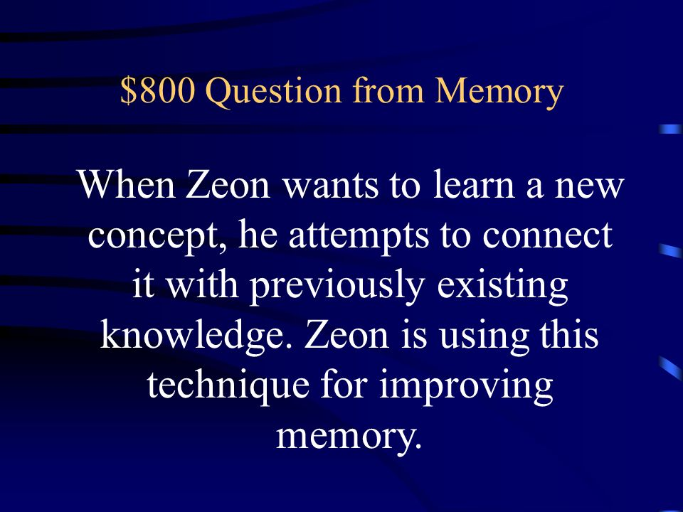 $800 Question from Memory