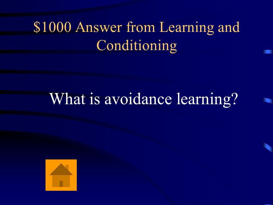 $1000 Answer from Learning and Conditioning