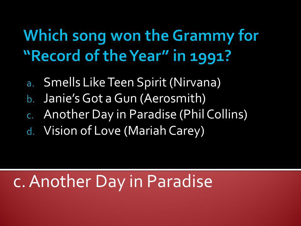Which song won the Grammy for Record of the Year in 1991