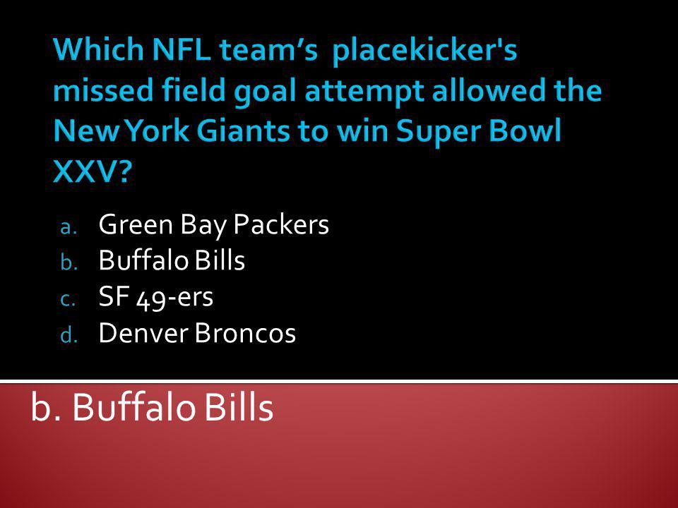 Green Bay Packers Buffalo Bills SF 49-ers Denver Broncos