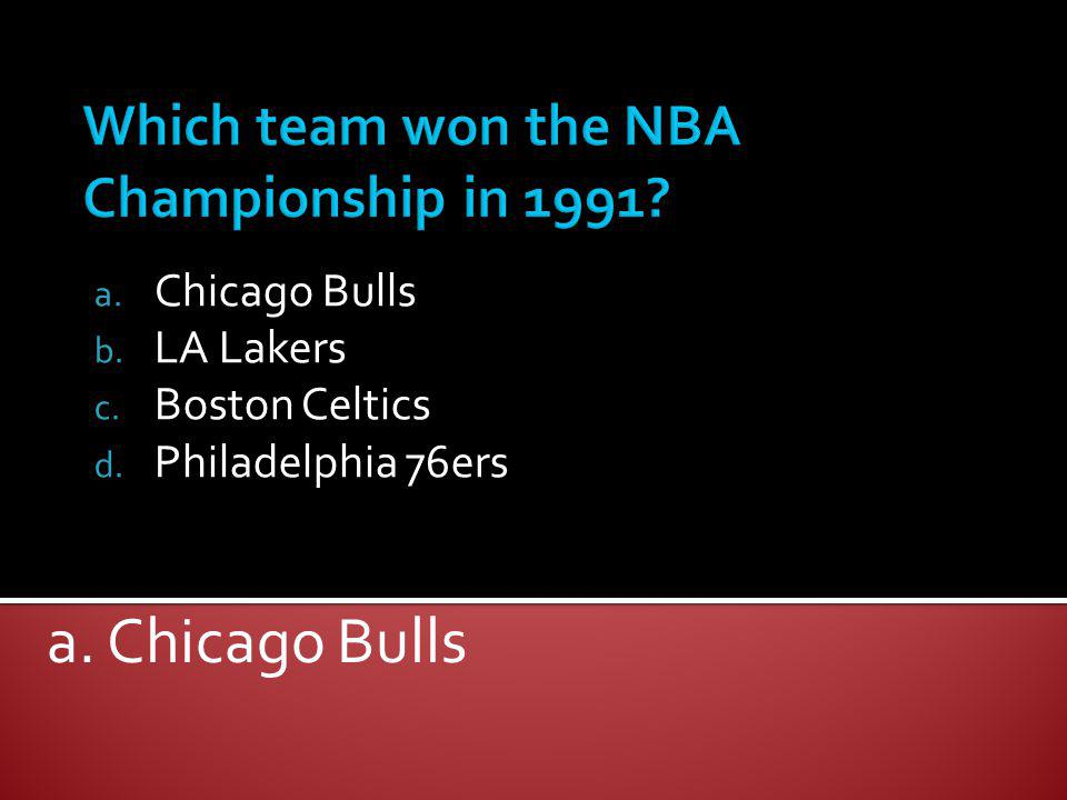 Which team won the NBA Championship in 1991