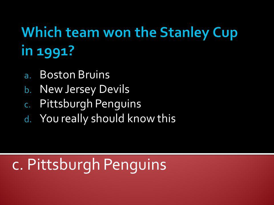 Which team won the Stanley Cup in 1991