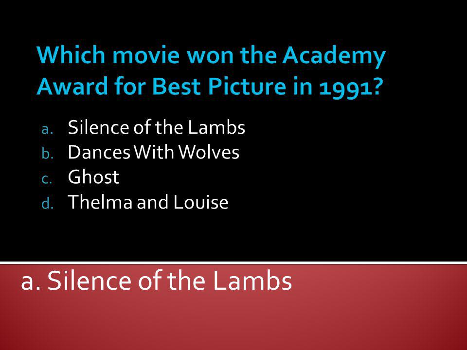 Which movie won the Academy Award for Best Picture in 1991