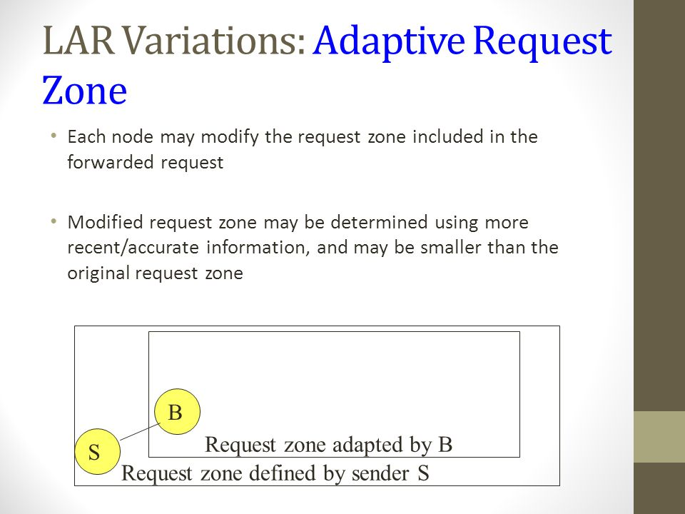 LAR Variations: Adaptive Request Zone