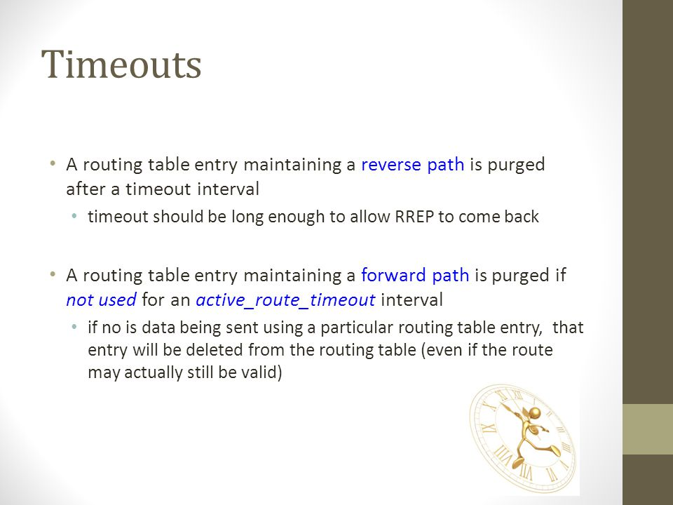 Timeouts A routing table entry maintaining a reverse path is purged after a timeout interval.