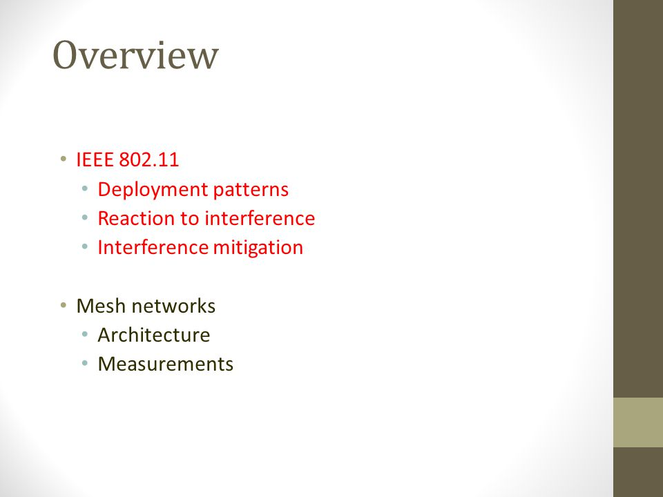 Overview IEEE Deployment patterns Reaction to interference