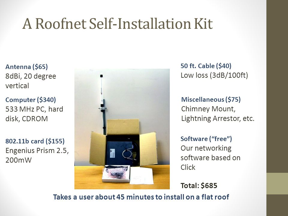 A Roofnet Self-Installation Kit