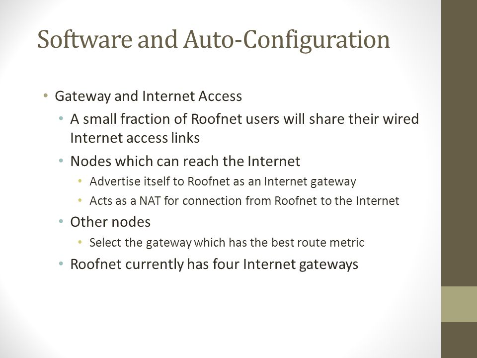 Software and Auto-Configuration