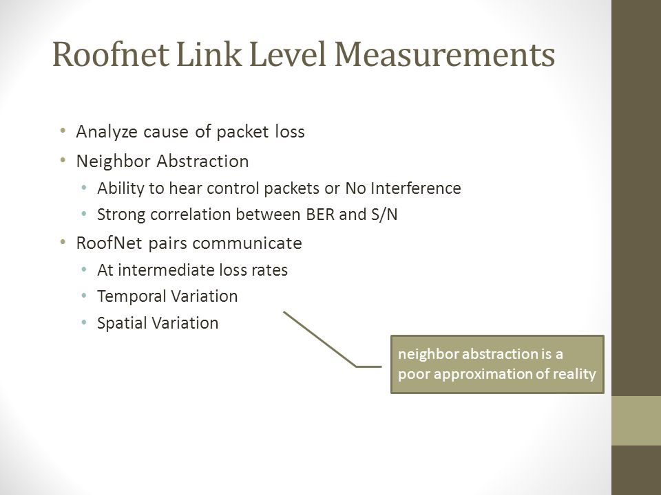 Roofnet Link Level Measurements