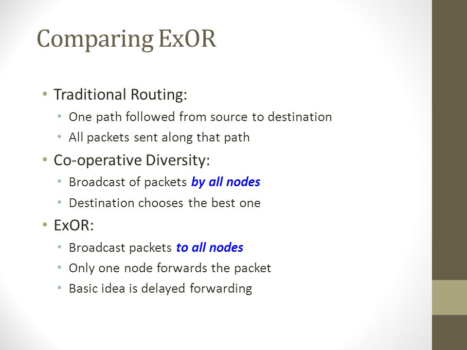 Comparing ExOR Traditional Routing: Co-operative Diversity: ExOR: