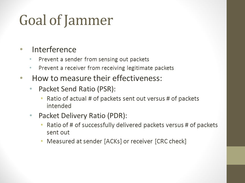 Goal of Jammer Interference How to measure their effectiveness: